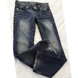 Big Star Blue LIV BOOT Dark Wash Frayed Hem Jeans